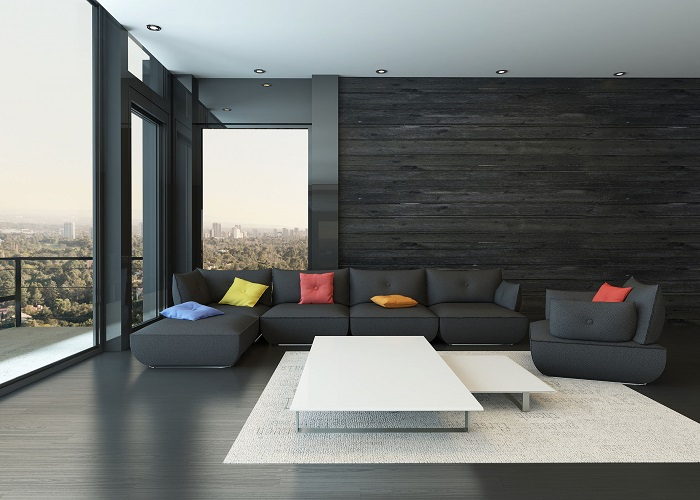 Feature wall with wood pallets
